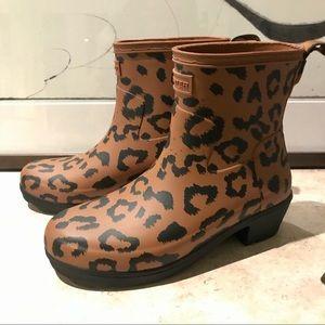 Hunter NWOT EU36 refined leopard rain boot